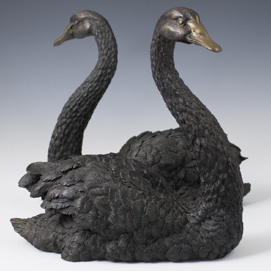 Antique Bronze Swan Sculptures - 5