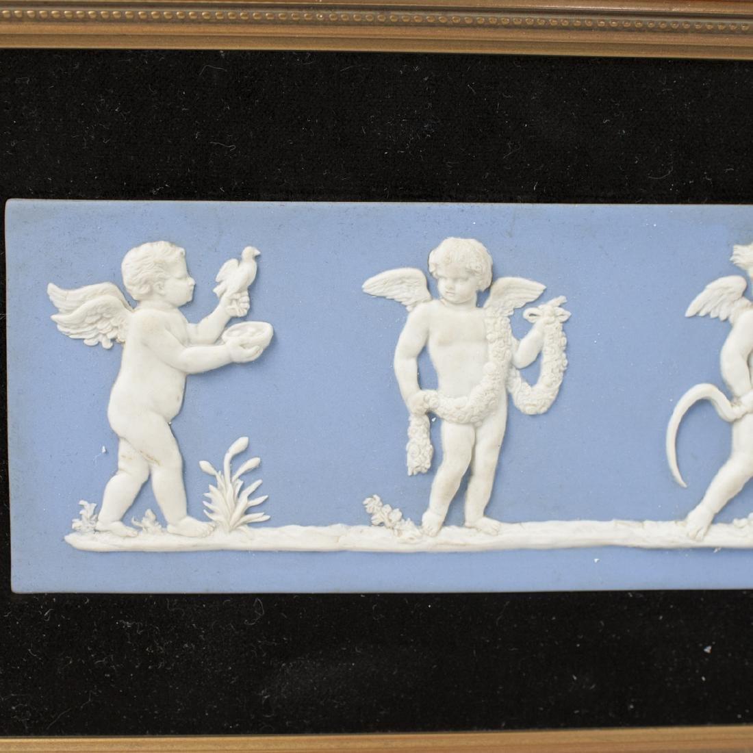 "Wedgwood ""The Seasons"" Blue Jasperware Plaque - 4"