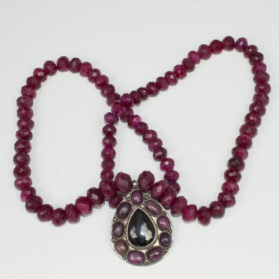 Faceted Ruby & Silver Necklace - 2