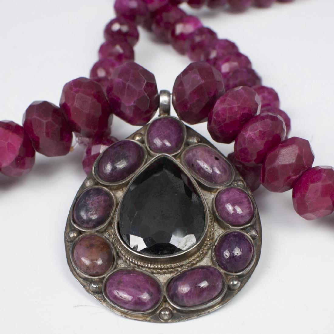 Faceted Ruby & Silver Necklace - 3