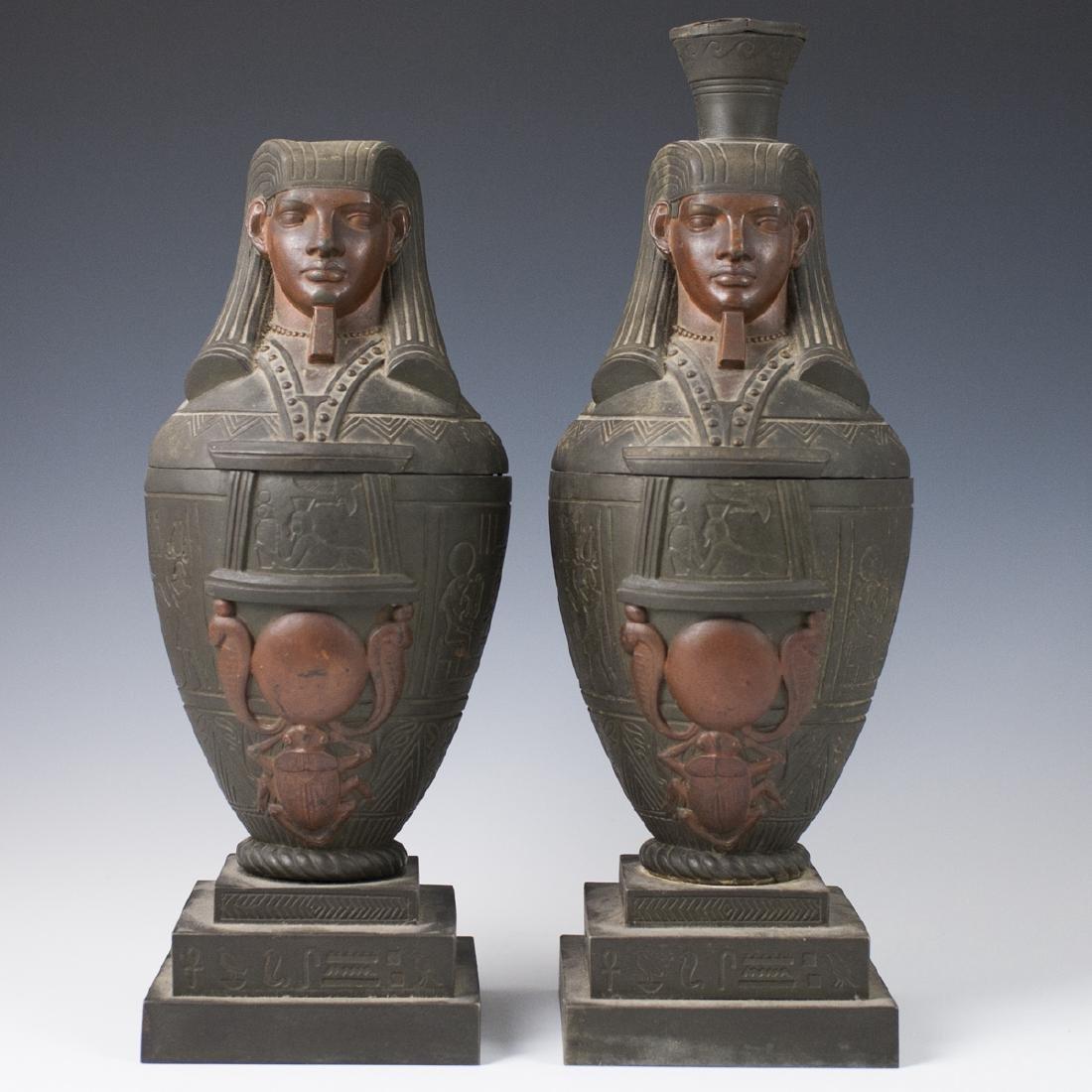 Polychromed White Metal Egyptian Motif Garnitures