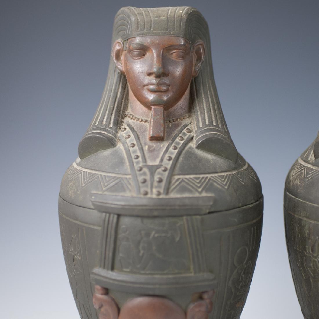 Polychromed White Metal Egyptian Motif Garnitures - 2