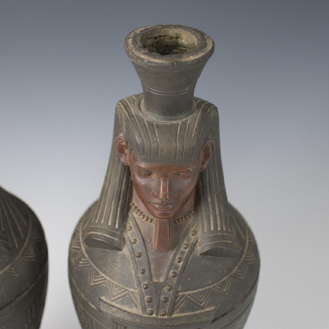 Polychromed White Metal Egyptian Motif Garnitures - 3