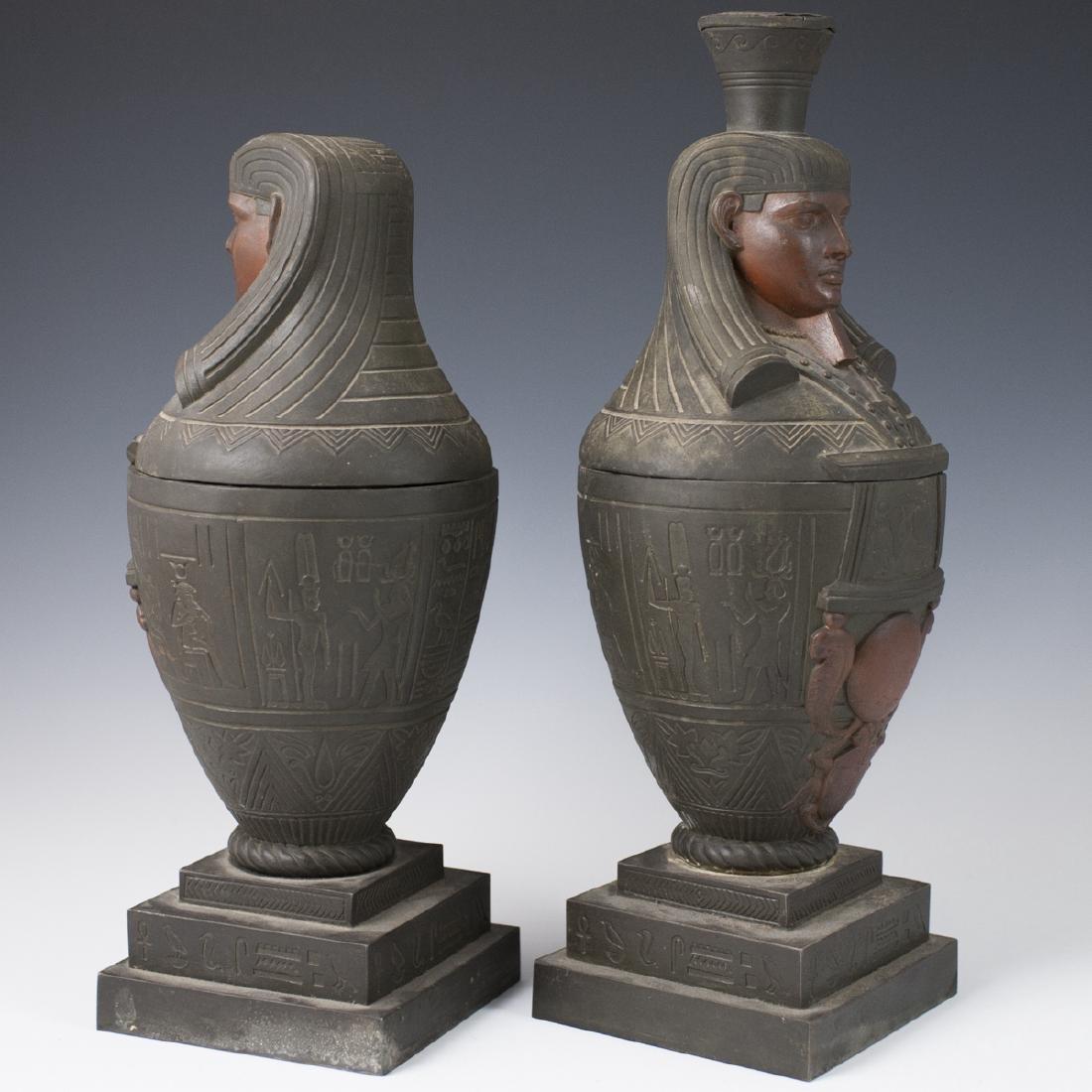 Polychromed White Metal Egyptian Motif Garnitures - 4