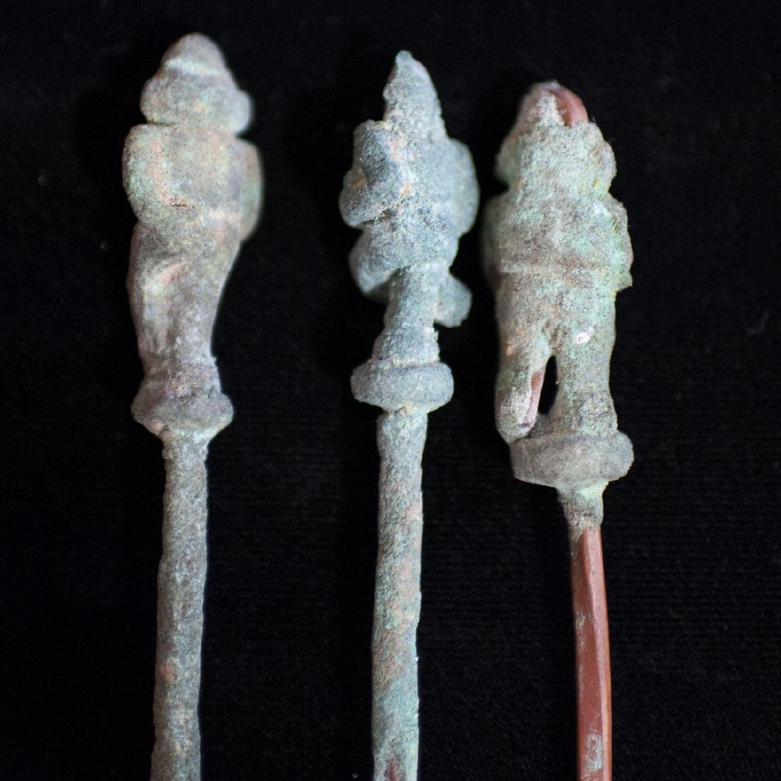 Pre-Columbian Figural Chimu Tupu Copper Pins - 3