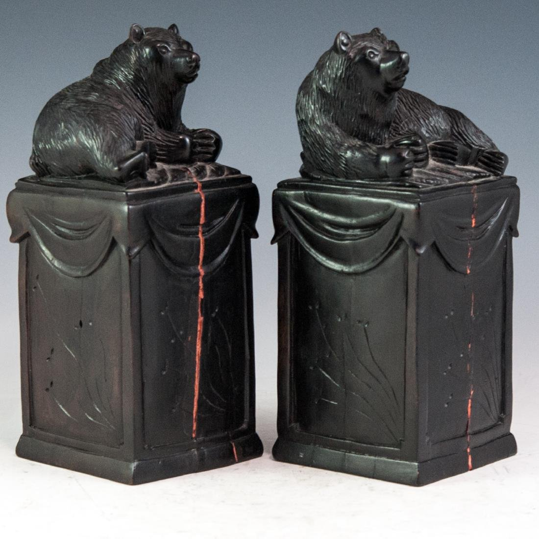 Carved Wooden Bookends - 3