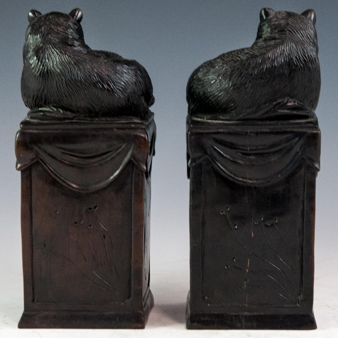 Carved Wooden Bookends - 4