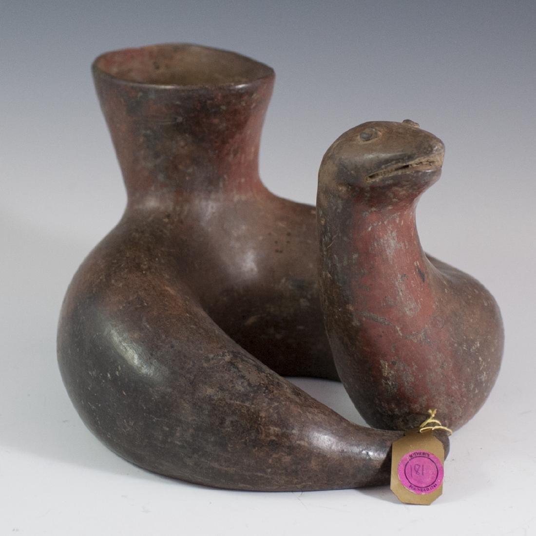 Pre-Columbian Serpent Pottery Stirrup Vessel