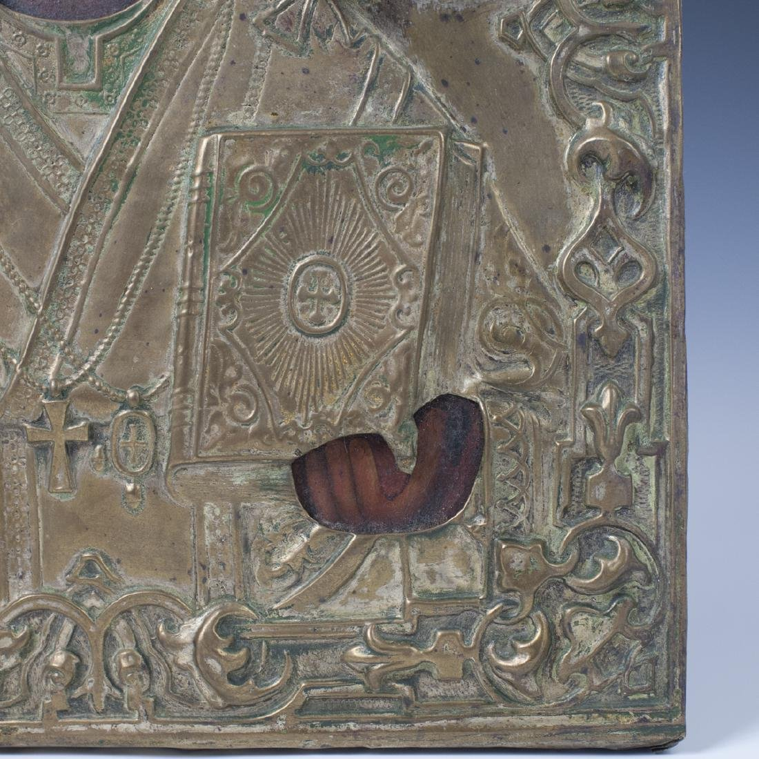Antique Russian Mounted Brass Icon - 5