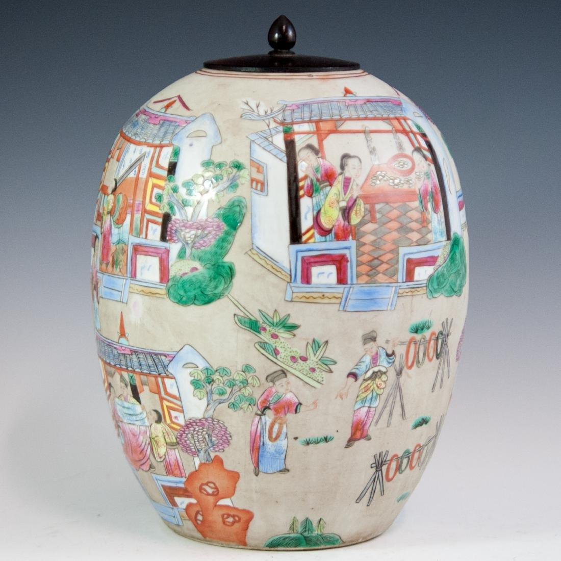 Antique Chinese Porcelain Famille Rose Jar - 2