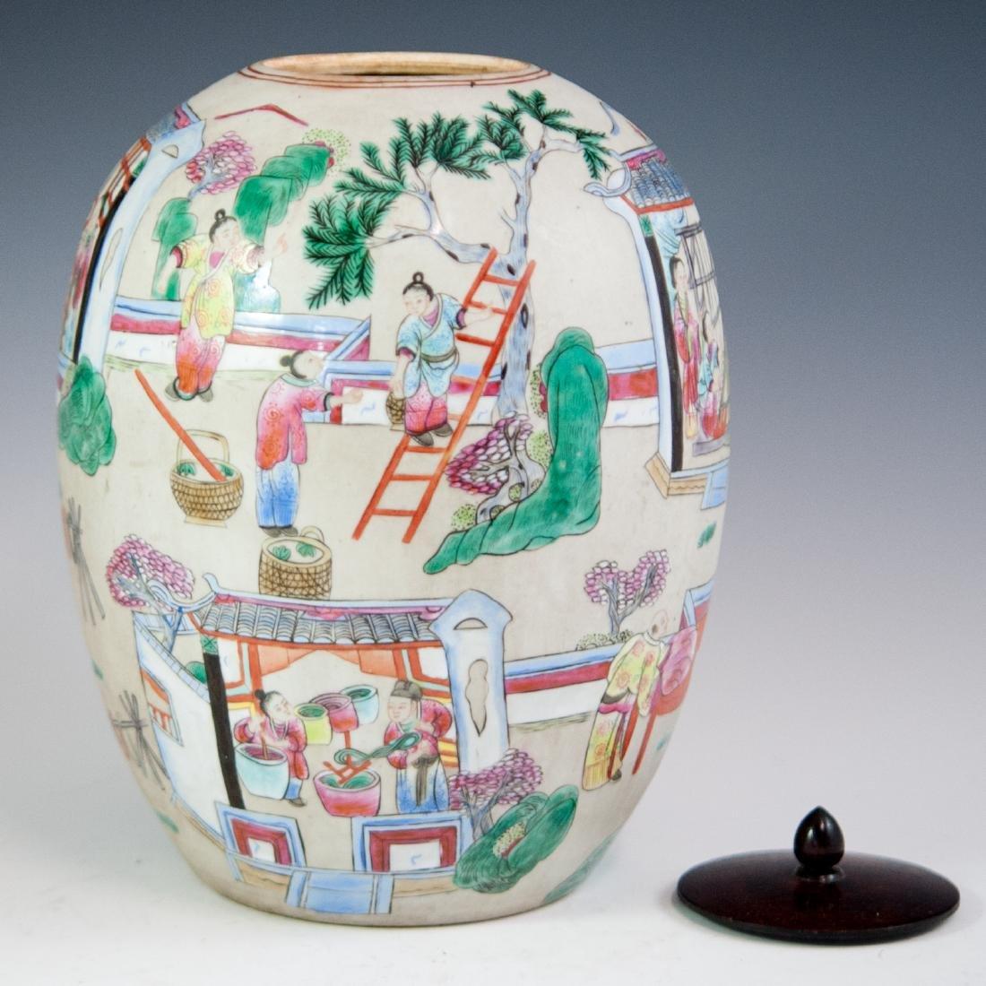 Antique Chinese Porcelain Famille Rose Jar - 4