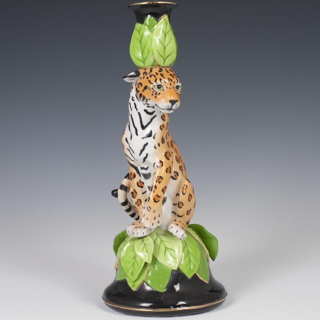 """Chase """"Jaguar Jungle"""" Porcelain Candlestick"""