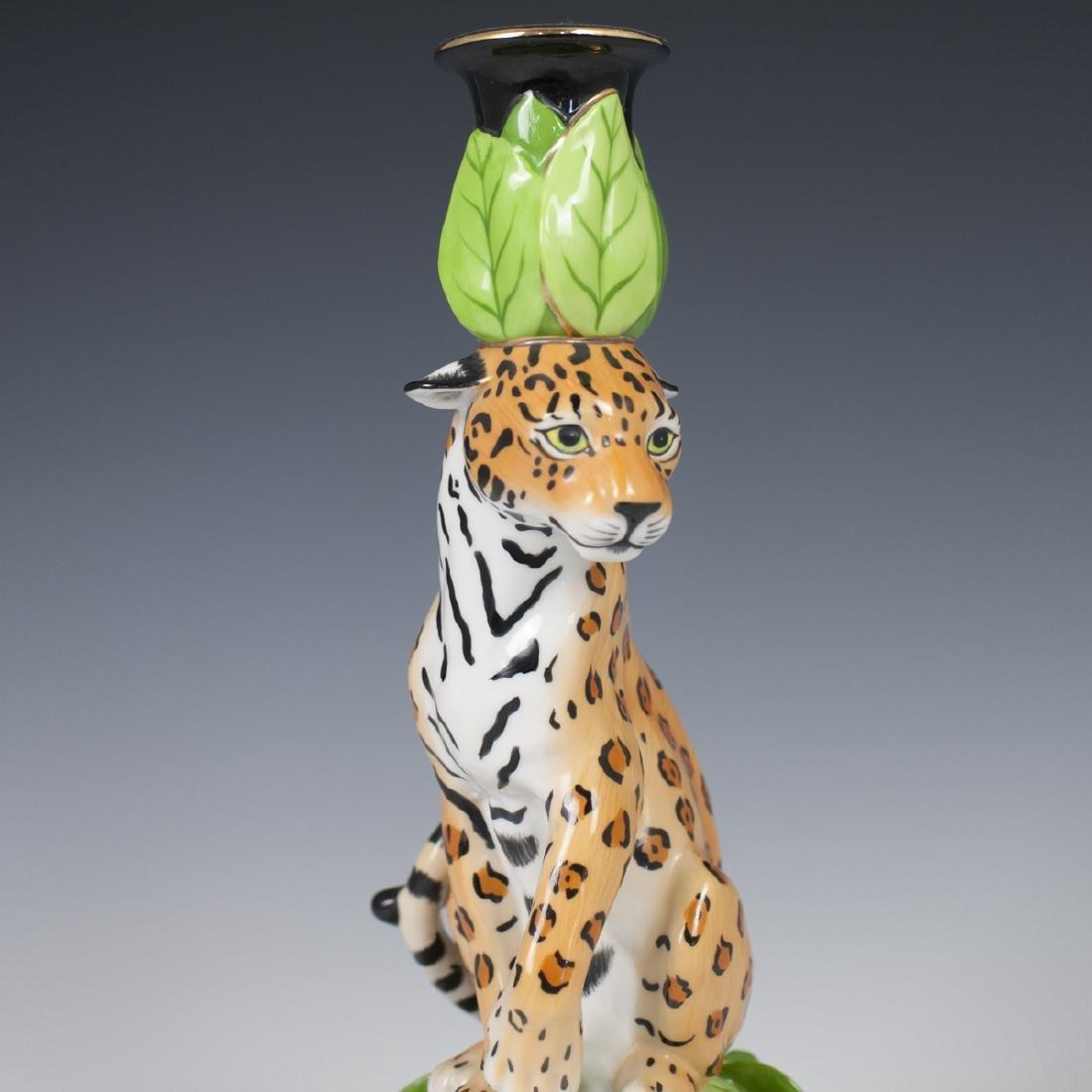 """Chase """"Jaguar Jungle"""" Porcelain Candlestick - 2"""