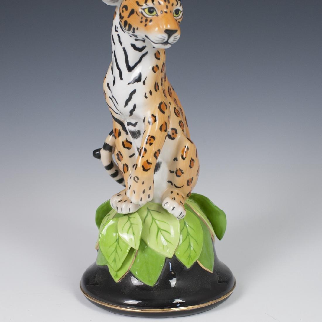 """Chase """"Jaguar Jungle"""" Porcelain Candlestick - 4"""