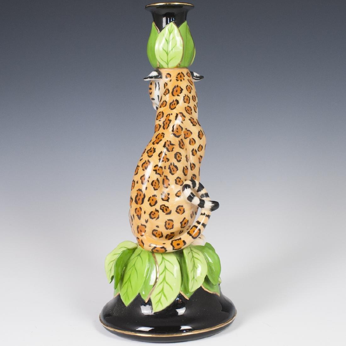 """Chase """"Jaguar Jungle"""" Porcelain Candlestick - 5"""