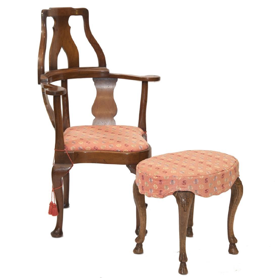 Antique Arm Chair & Ottoman