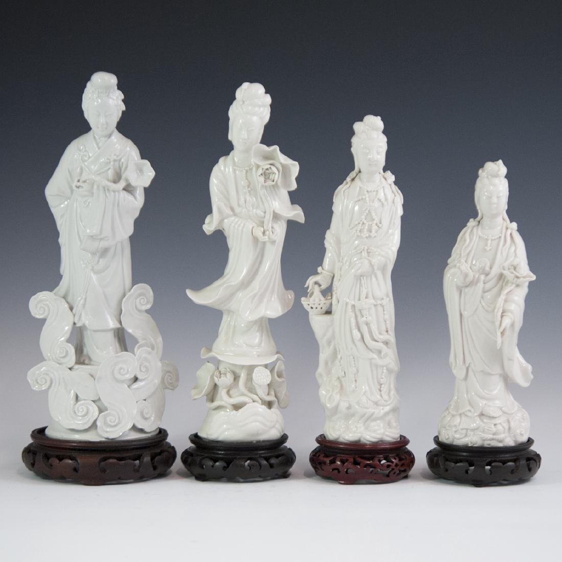 Chinese Blanc De Chine Guanyin Figurines