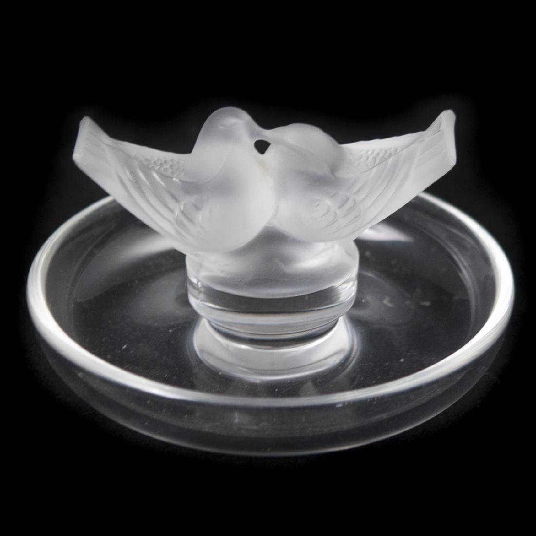 "Lalique Crystal ""Love Birds"" Pintray"