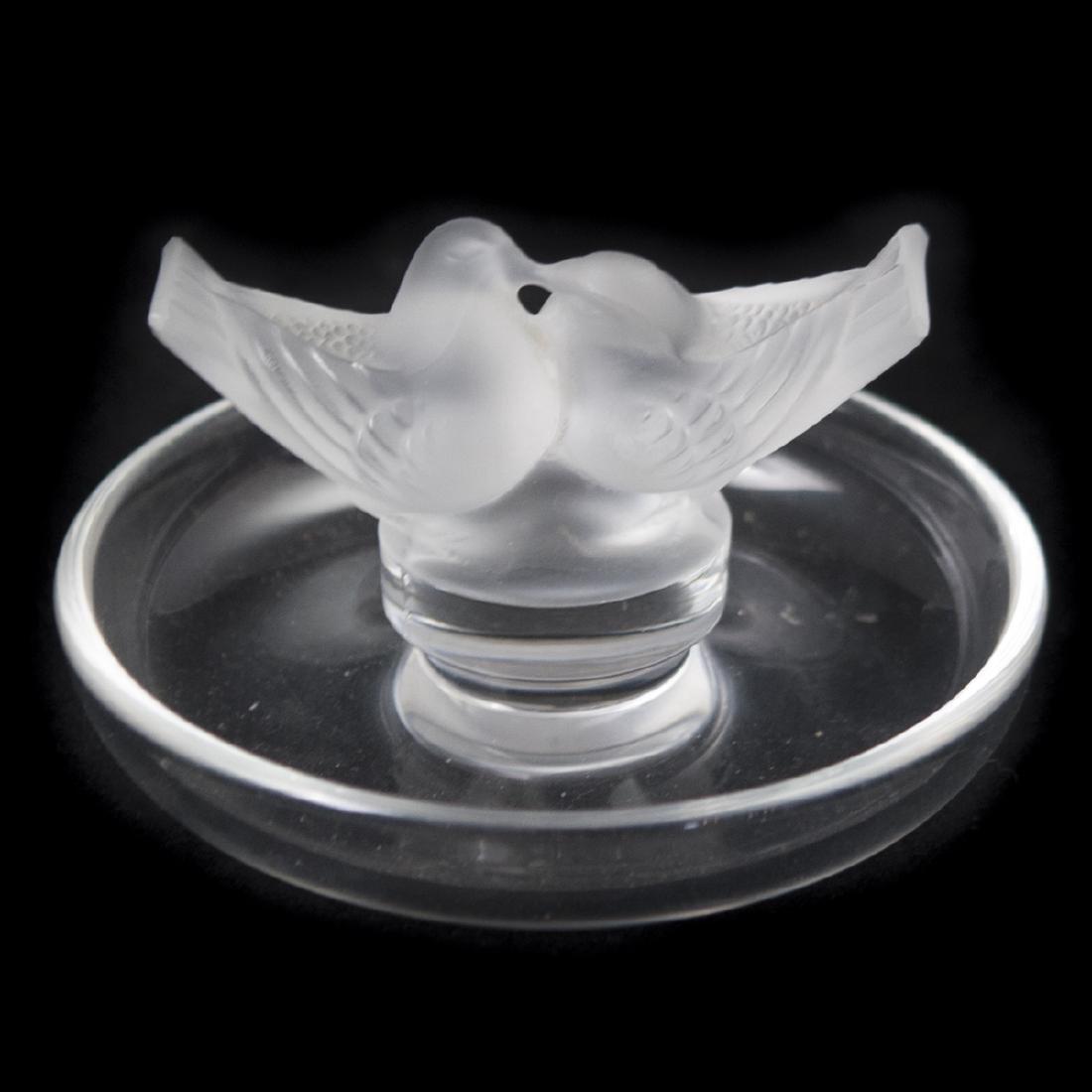 """Lalique Crystal """"Love Birds"""" Pintray"""