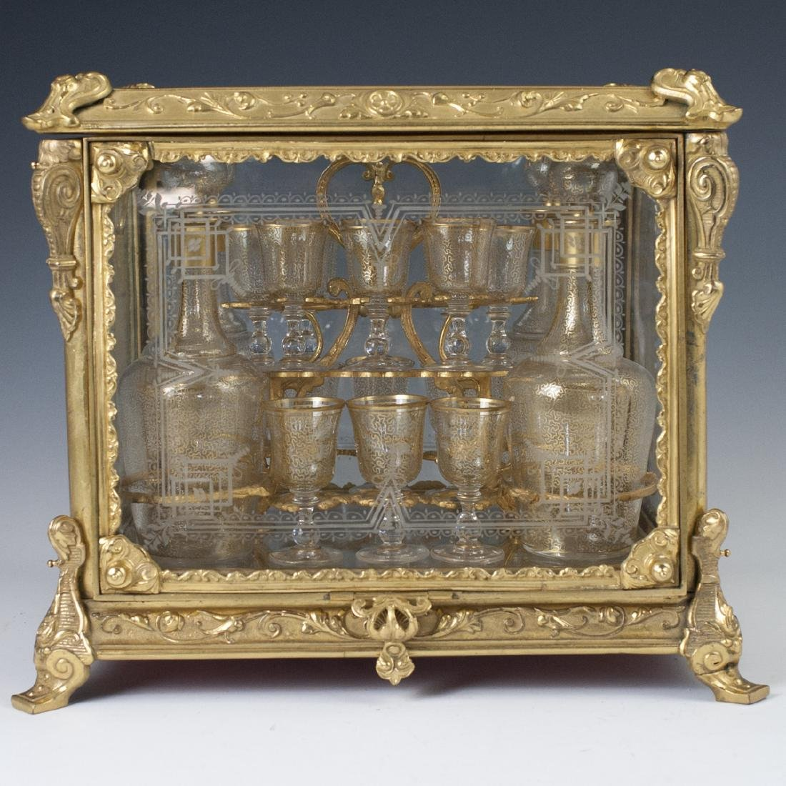 Antique French Ormolu Etched Crystal Tantalus Set