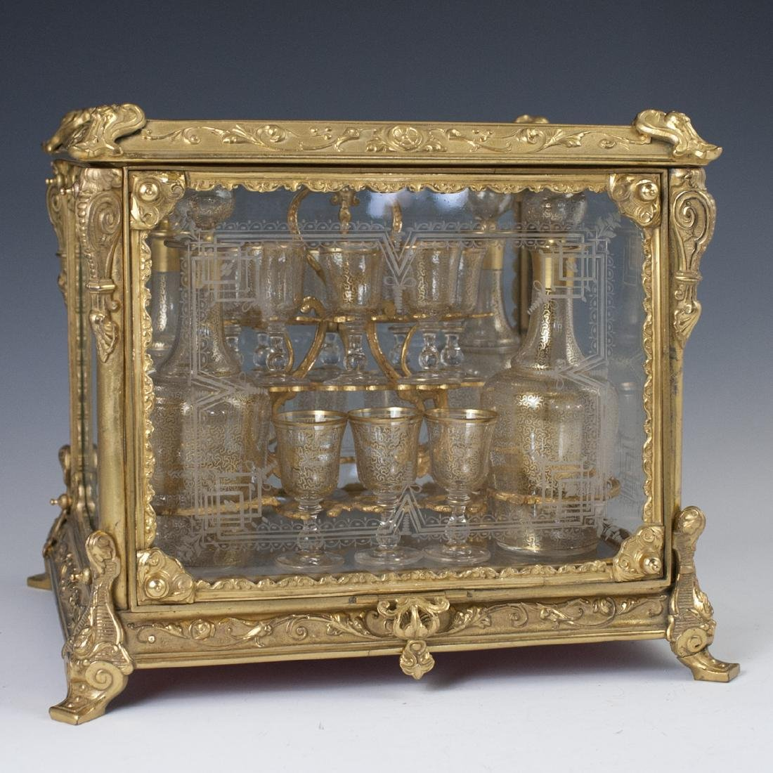 Antique French Ormolu Etched Crystal Tantalus Set - 2