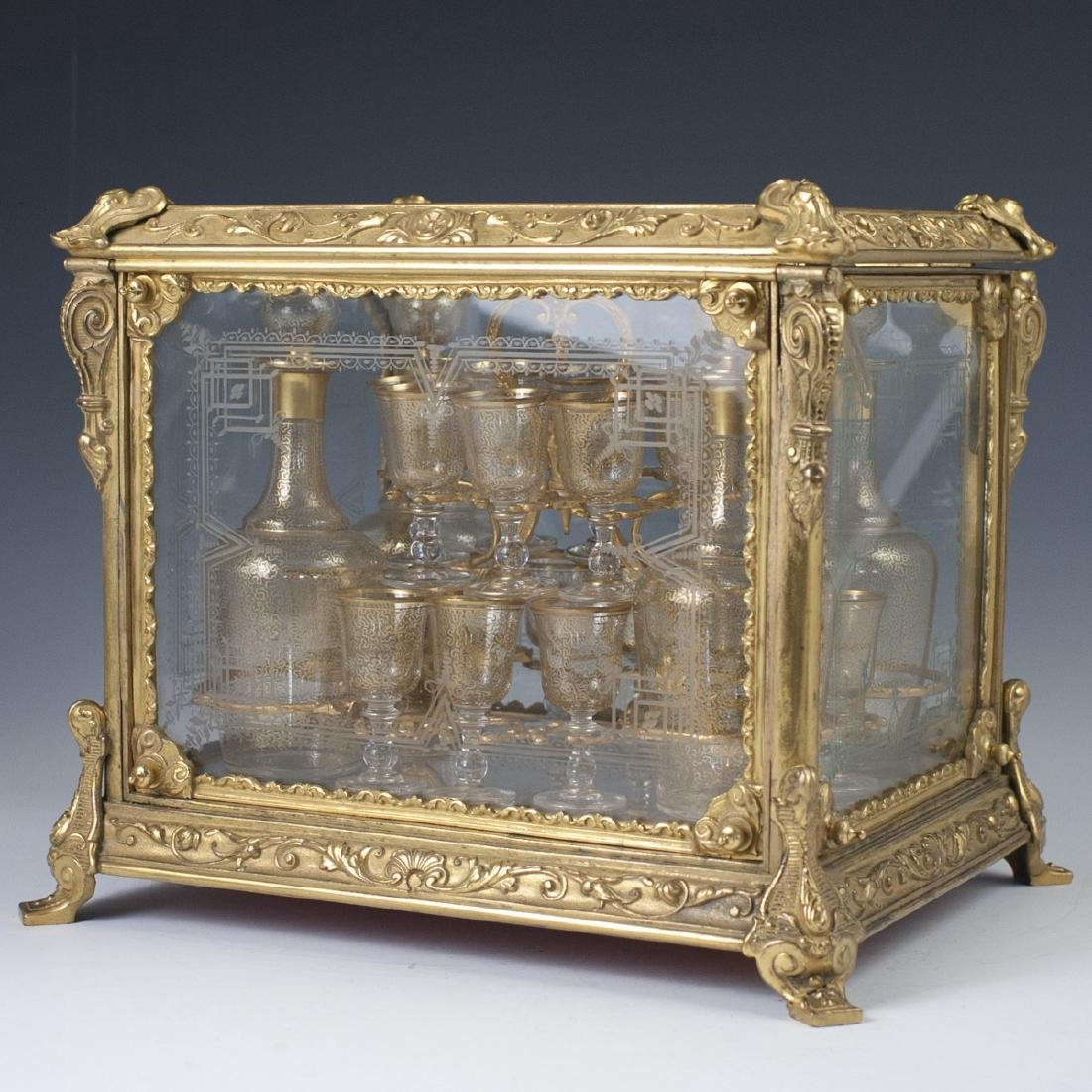 Antique French Ormolu Etched Crystal Tantalus Set - 5