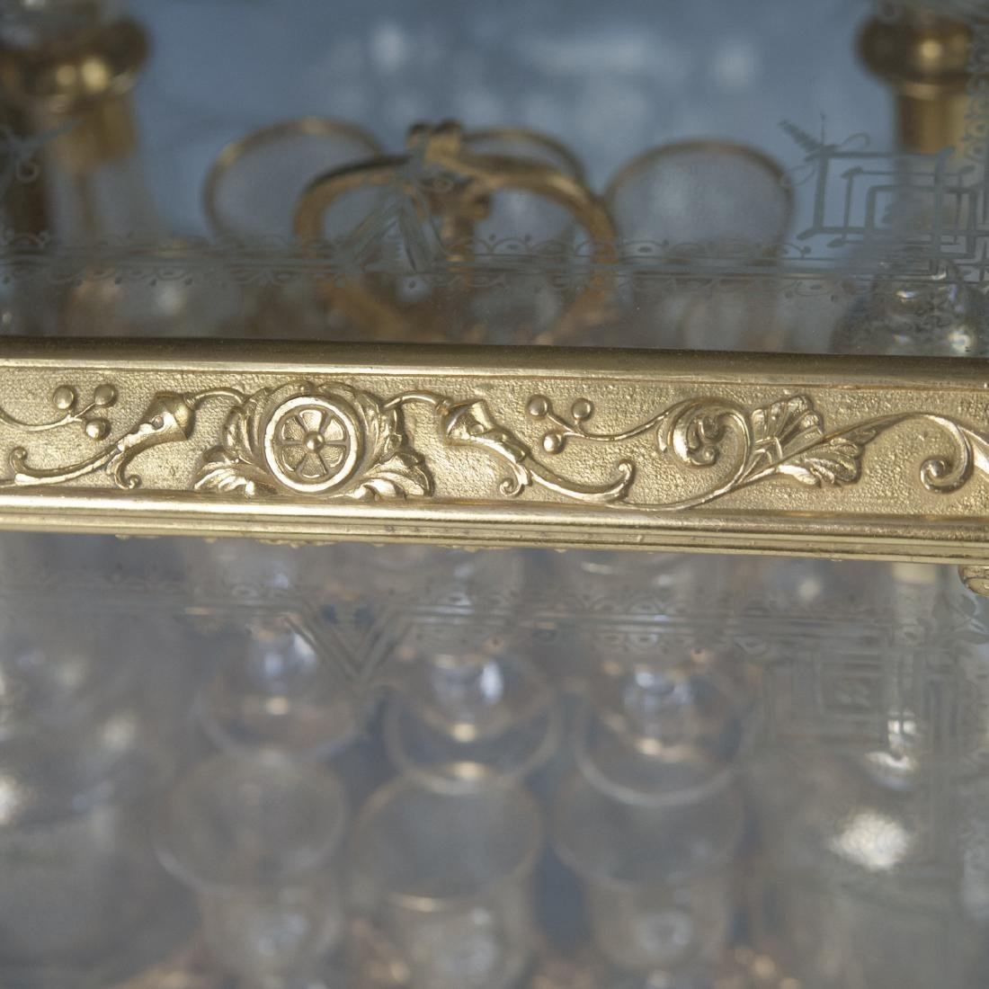 Antique French Ormolu Etched Crystal Tantalus Set - 7