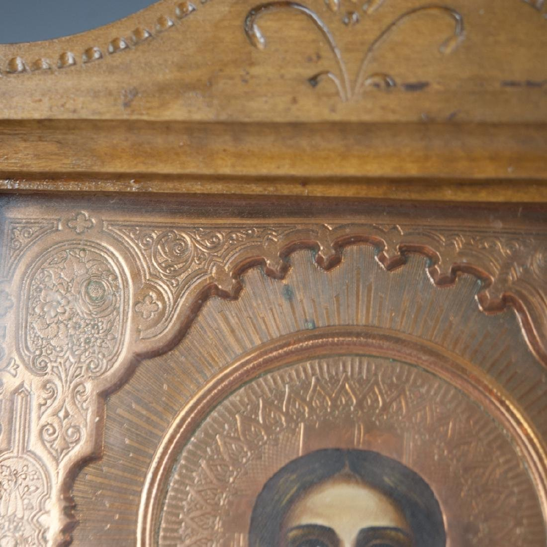 Antique Copper Mounted Russian Icon - 5