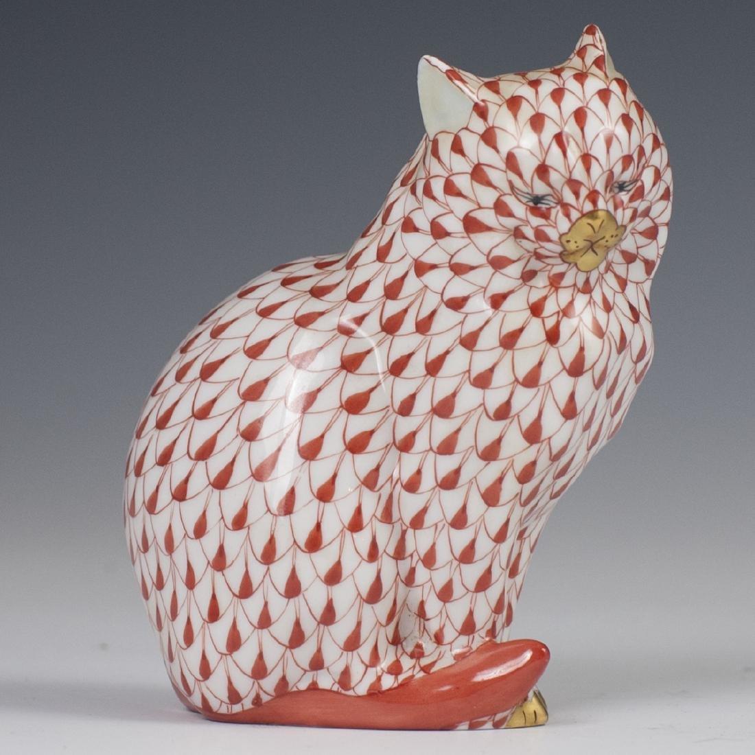Herend Porcelain Fishnet Cat Figurine