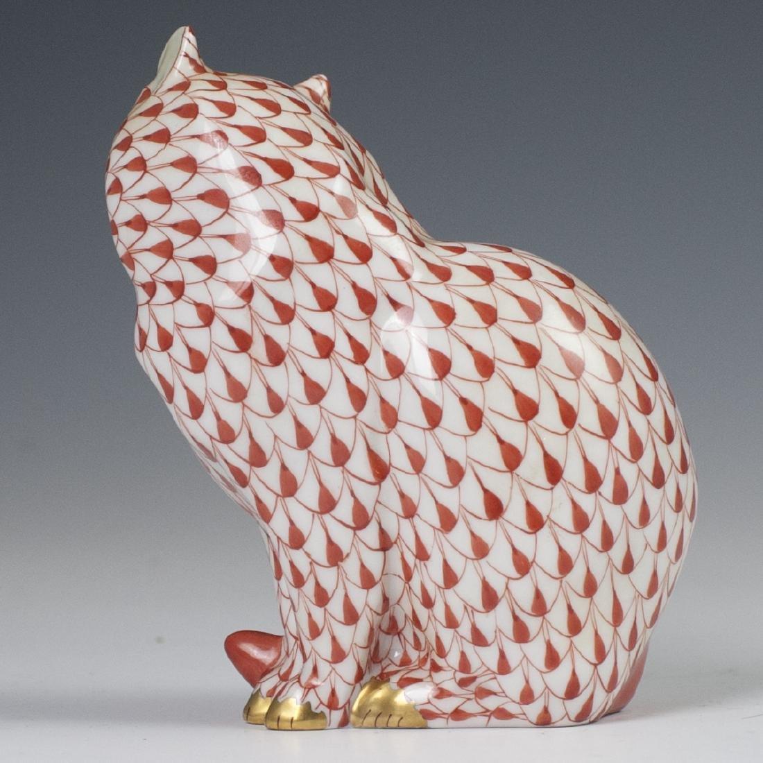 Herend Porcelain Fishnet Cat Figurine - 2