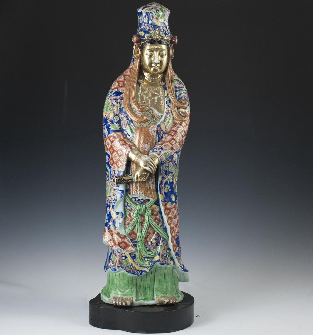 Antique Chinese Enameled Porcelain Guanyin