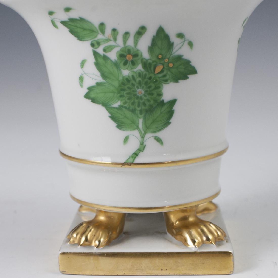 """Herend Porcelain """"Apponyi Vert"""" Footed Vase - 2"""