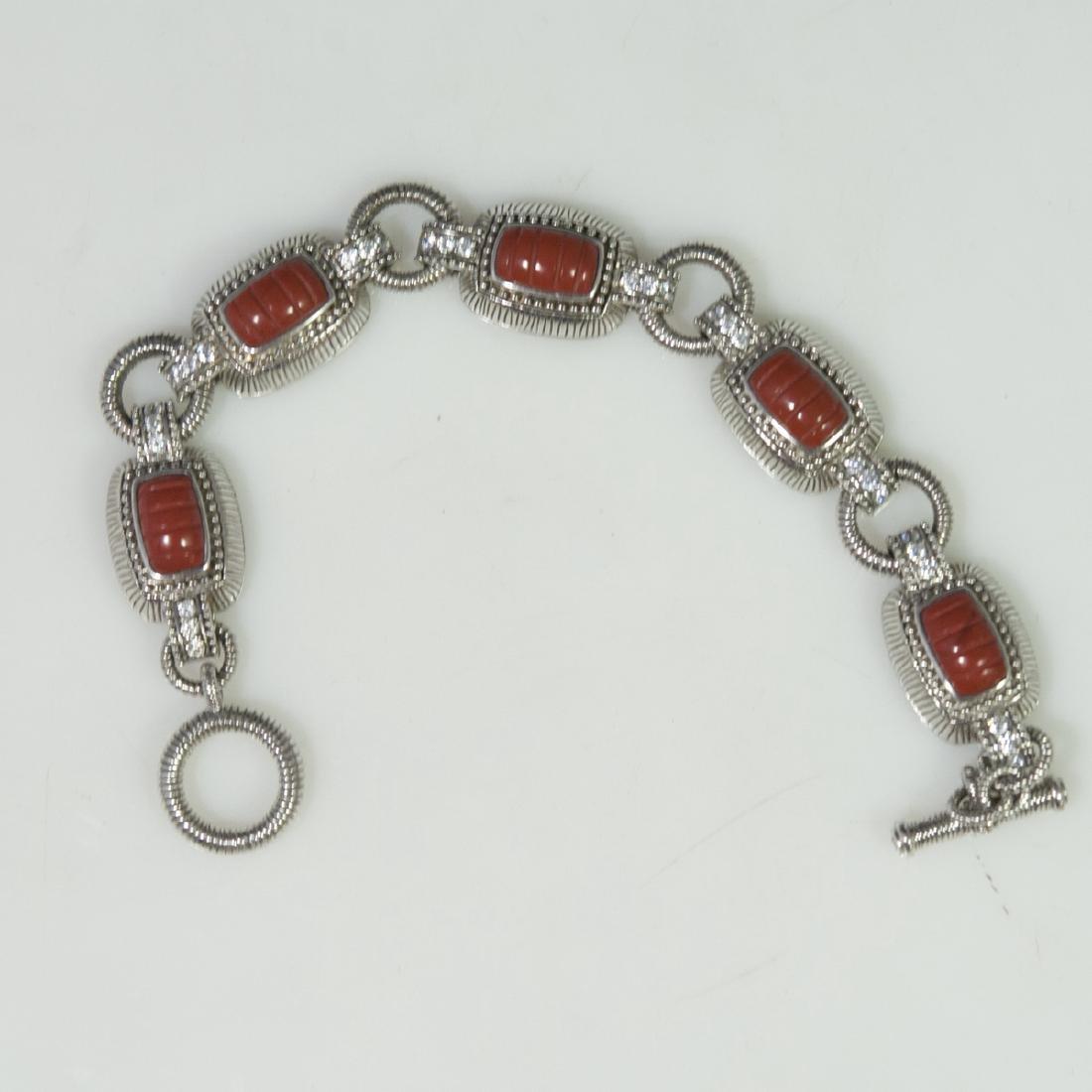 Judith Ripka Sterling Jasper & CZ Bracelet
