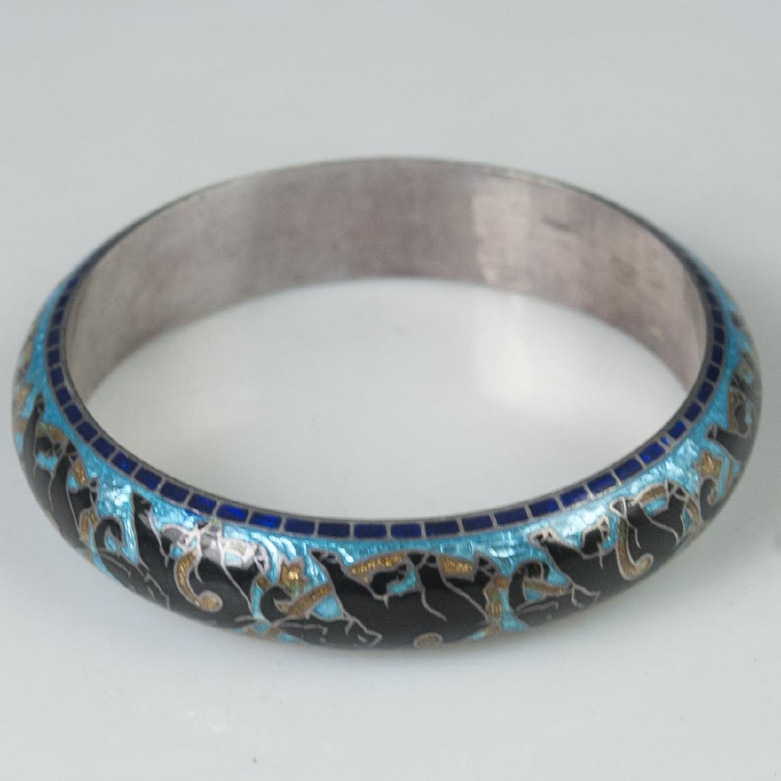 Indian Enameled Sterling Bangle