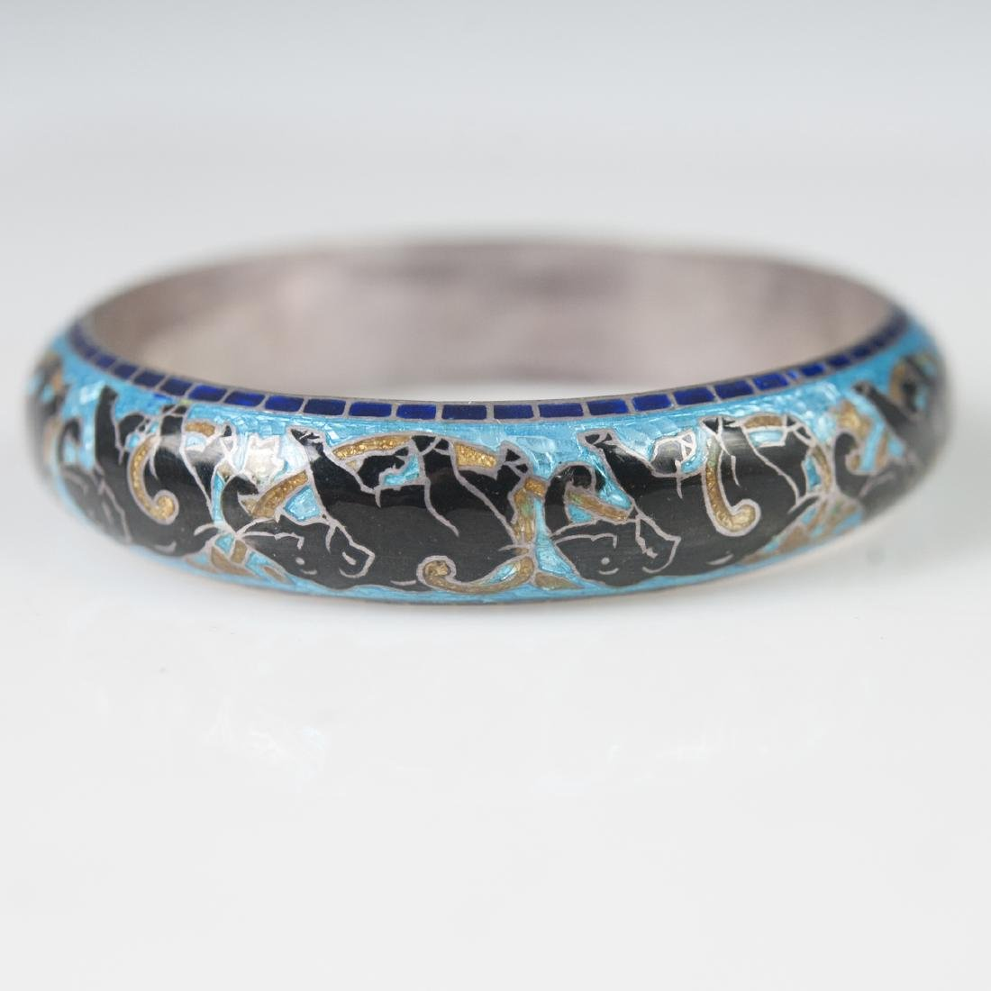 Indian Enameled Sterling Bangle - 2