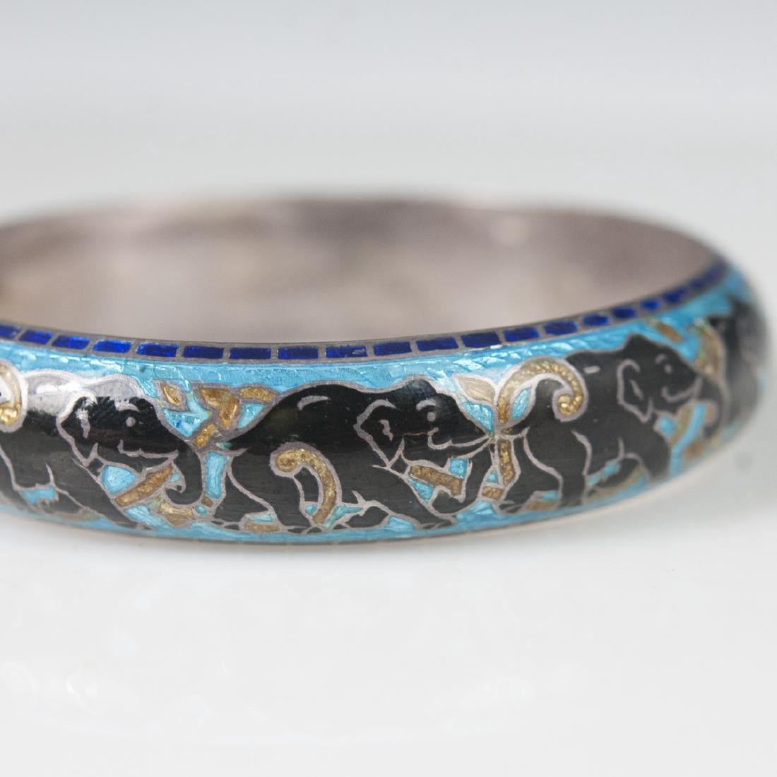 Indian Enameled Sterling Bangle - 4