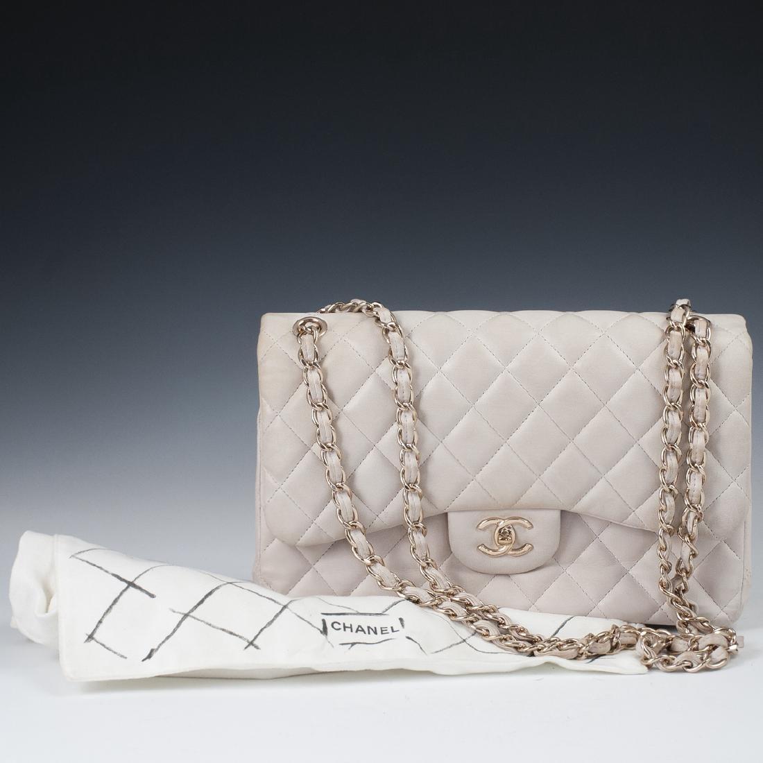 Chanel Light Beige Calfskin Flap Bag