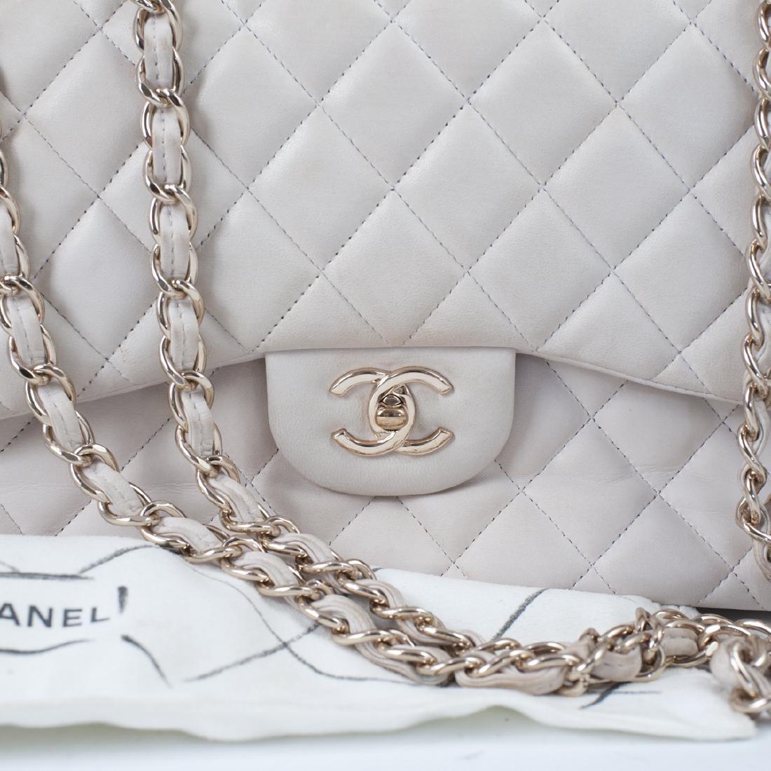 Chanel Light Beige Calfskin Flap Bag - 4
