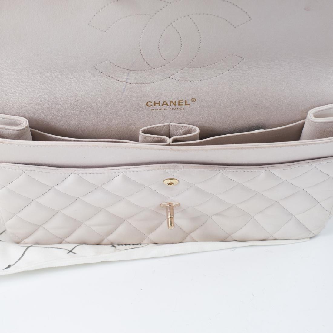 Chanel Light Beige Calfskin Flap Bag - 7