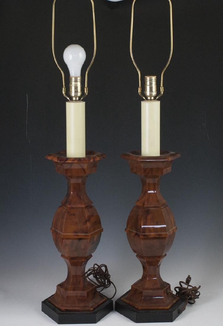 Mid-Century Stiffel Marble Bakelite Lamps