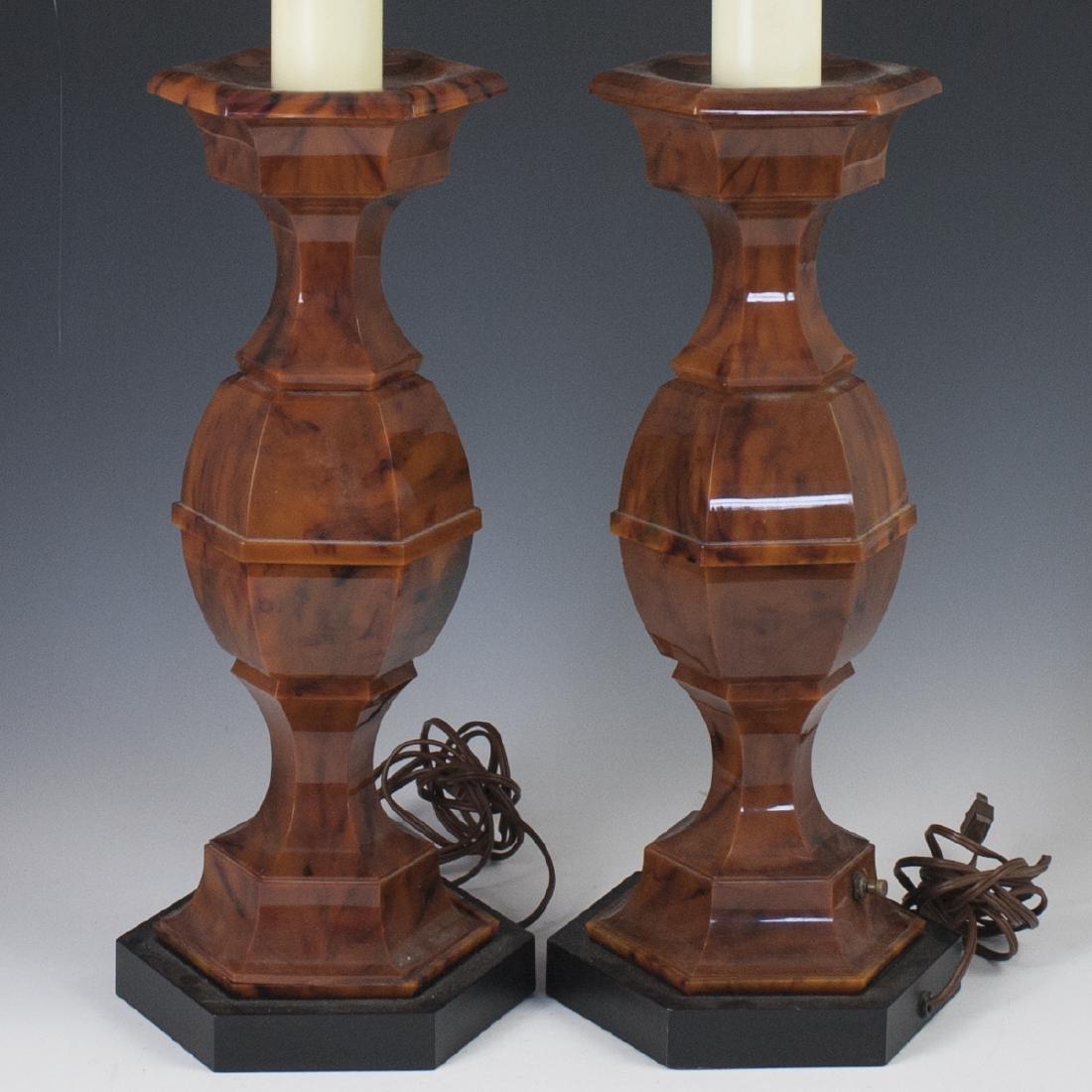 Mid-Century Stiffel Marble Bakelite Lamps - 2