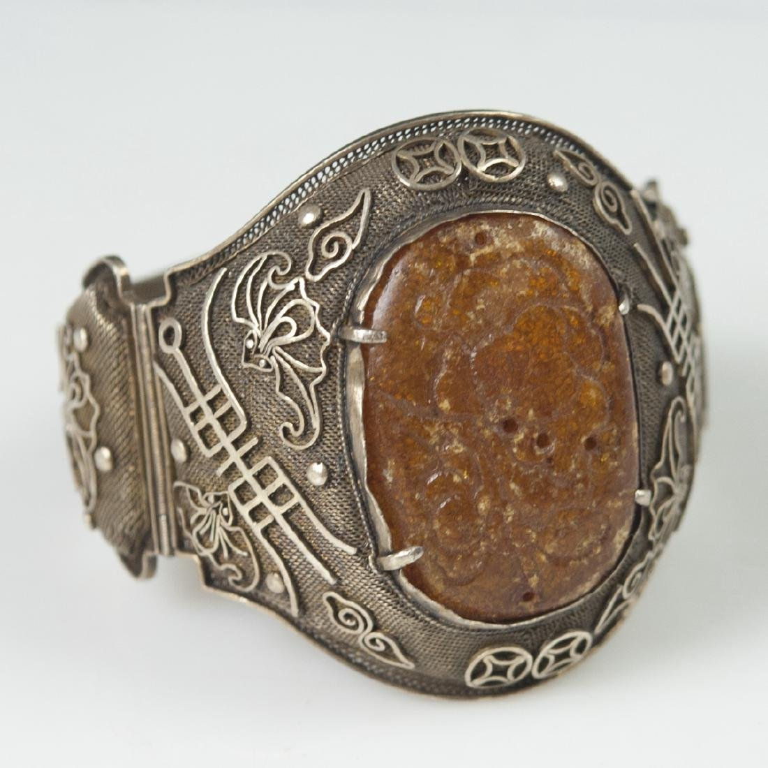 Chinese Vermeil Silver Filigree Amber Cuff