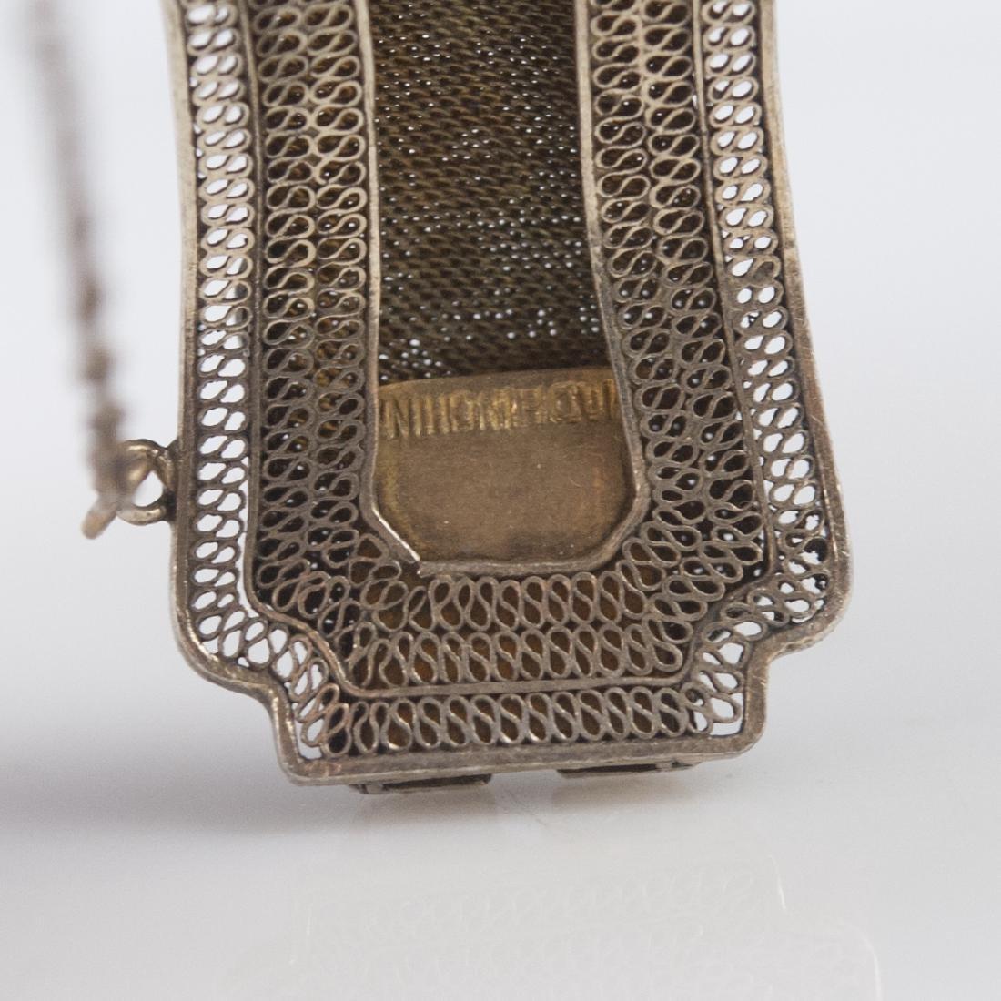 Chinese Vermeil Silver Filigree Amber Cuff - 2