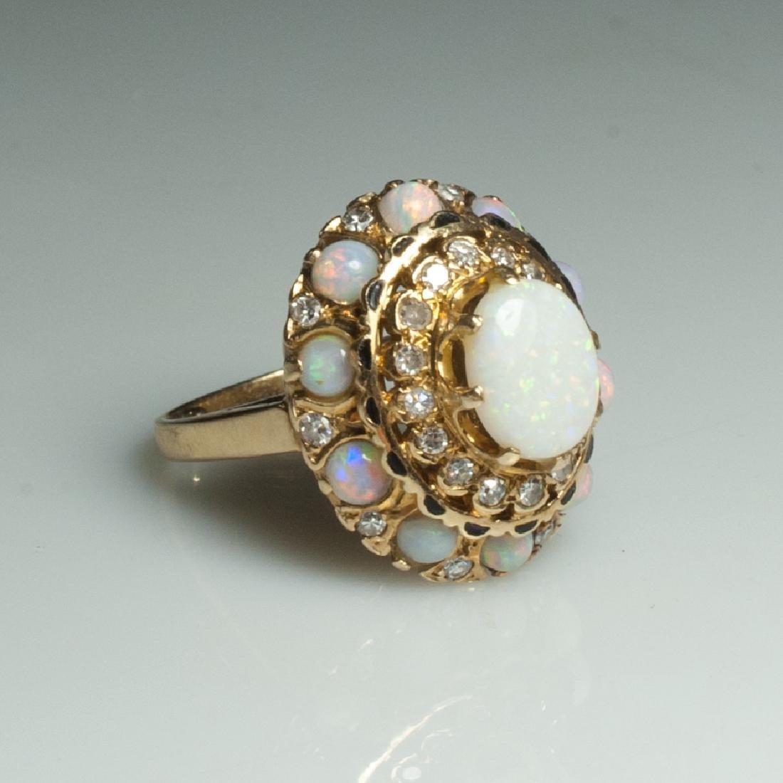 14Kt Gold & Diamond & Opal Ring