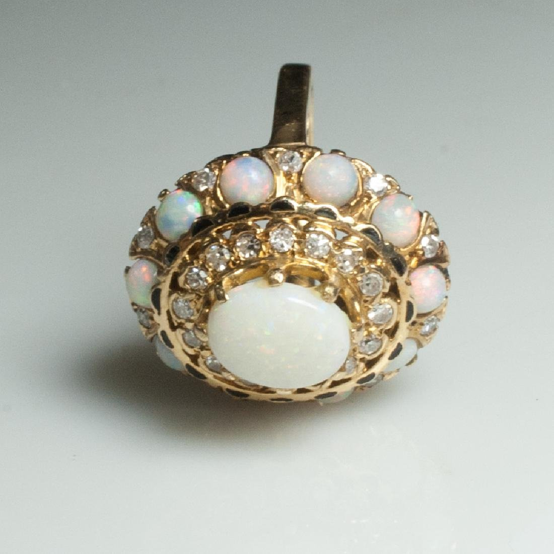 14Kt Gold & Diamond & Opal Ring - 2