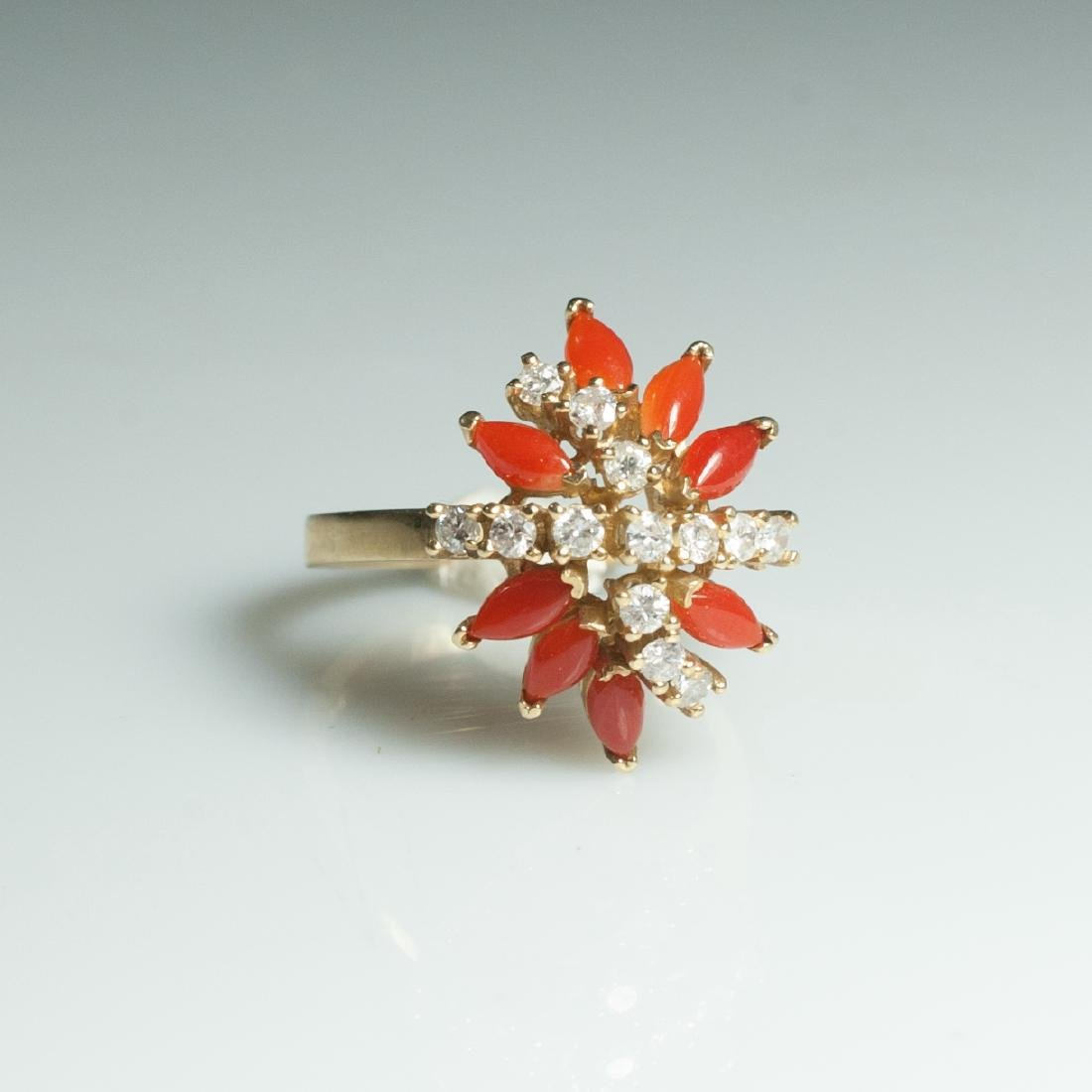 Gold & Diamond & Coral Ring