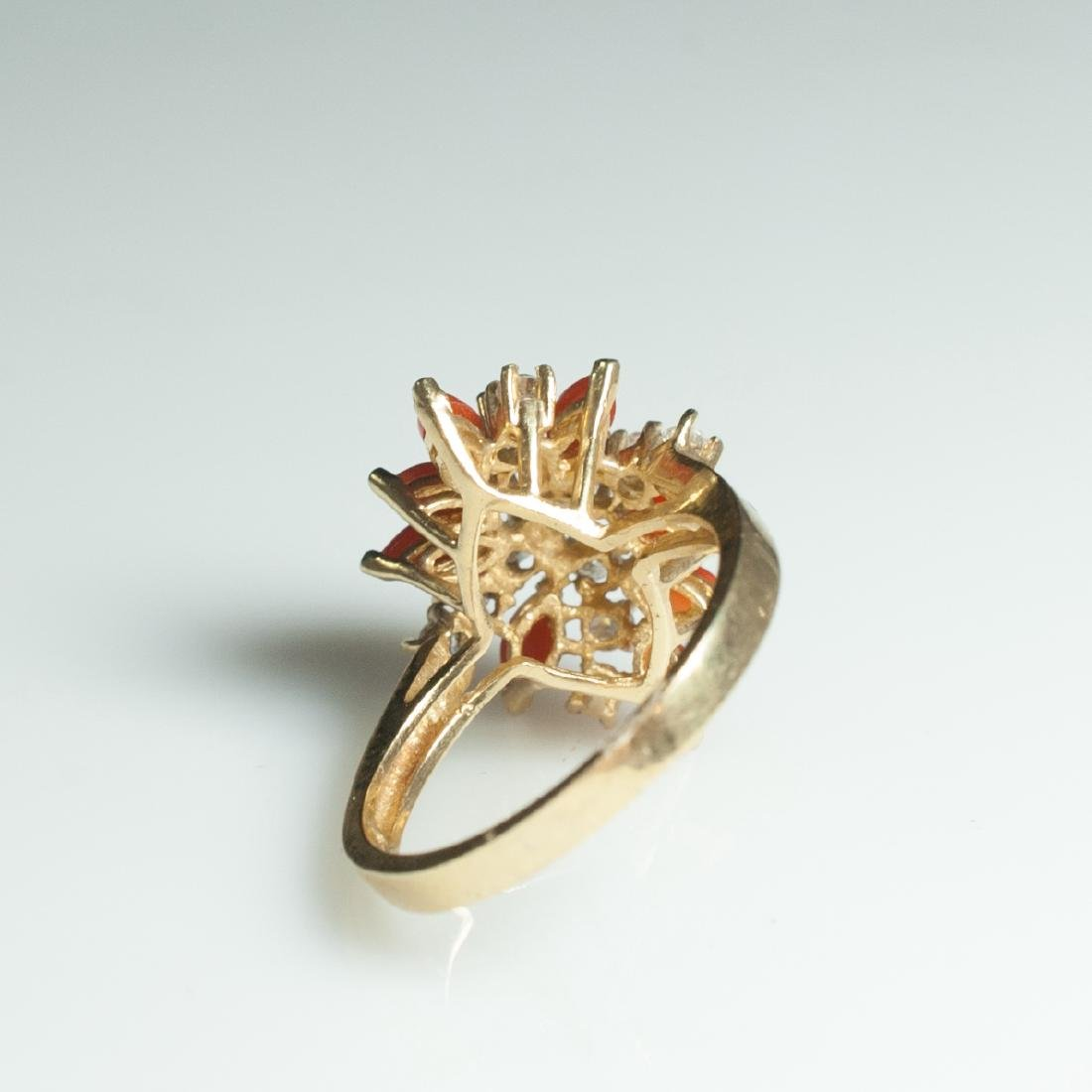 Gold & Diamond & Coral Ring - 2