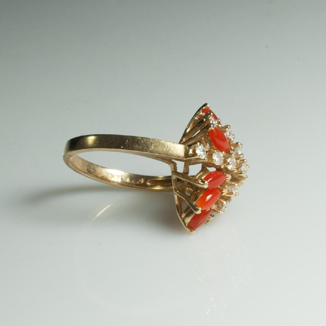 Gold & Diamond & Coral Ring - 4