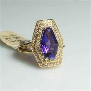 18kt Gold Amethyst Diamond Ring