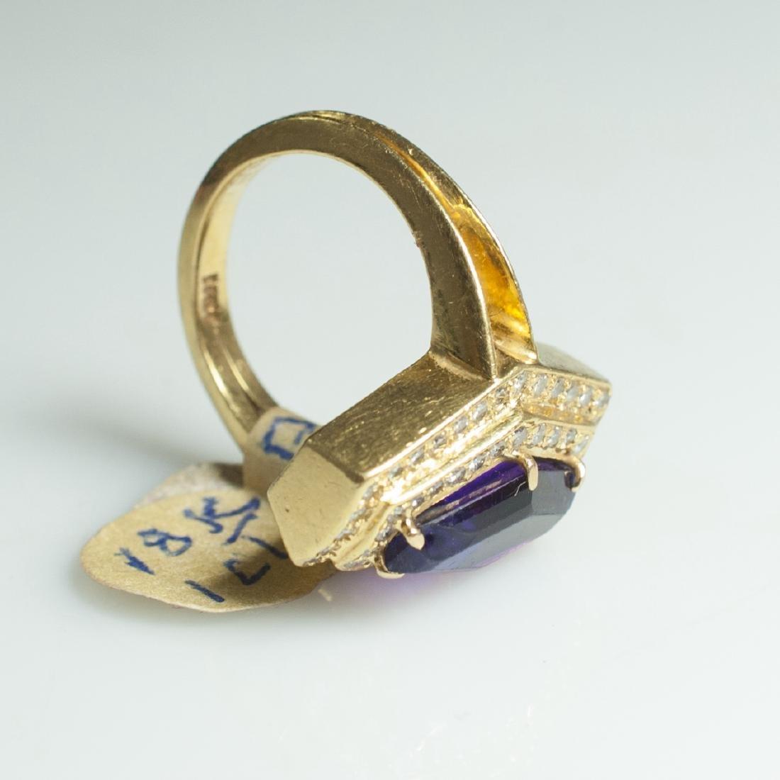 18kt Gold & Amethyst & Diamond Ring - 2